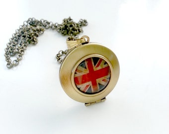 Union Jack Locket Pendant Necklace Vintage Brass locket, British flag in antique style. Patriotic keepsake necklace locket pendant