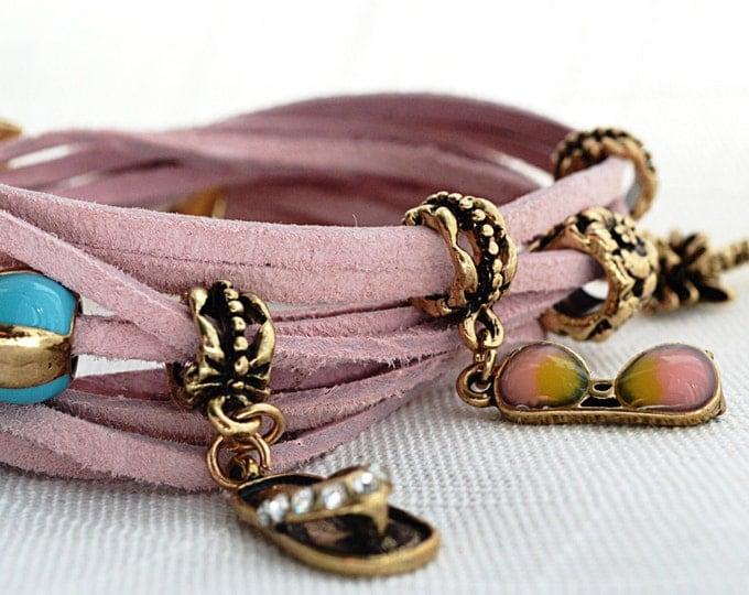 Handmade leather wrap bracelet, summer bracelet, pink charm bracelet, summer charm, pink leather bracelet, leather cord bracelet, palm charm