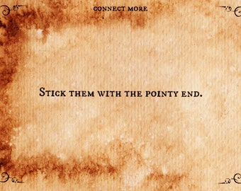 Stick Them With the Pointy End Post Card, Handmade, Vintage Style, Game of Thrones