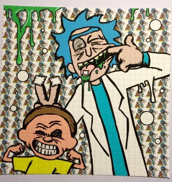 rick and morty does calvin and hobbes does acid blotter art