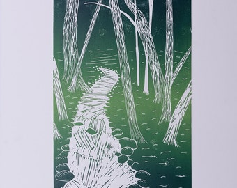 Stream Through Forest original linocut print, wall art.