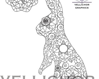 INSTANT DOWNLOAD Printable Easter Coloring Page Adult Book Bunny
