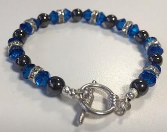 Blue Fire and Hematite handmade bracelet