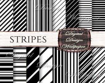 Stripe Digital Paper Pack ,Digital Paper Black and White,Black and White Stripes Digital Paper,Scrapbook Paper,Stripe,Instant Download,