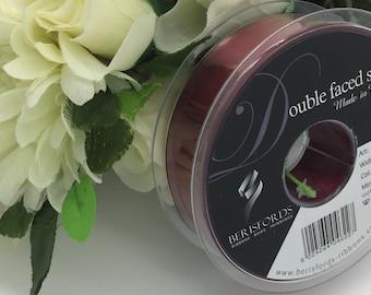 Full reel Berisfords 25mm Burgundy (405) satin ribbon