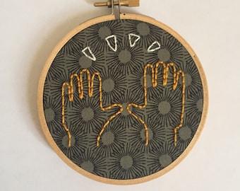 Raised Hands Emoji Embroidery Hoop Wall Art