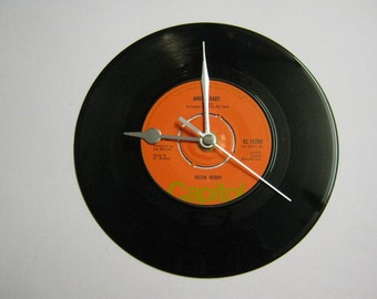 """Helen Reddy - """"Angie Baby/I Think I'll Write A Song"""" Record Wall Clock"""