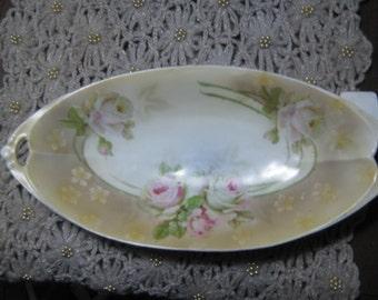 Vintage Prussian Hand Painted German Floral Dish