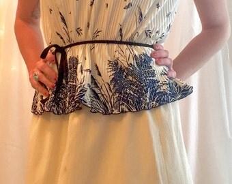 Vintage Blue & White 2 Piece Dress