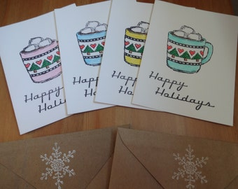 Handmade Recycled Holiday Cards - Set of 8
