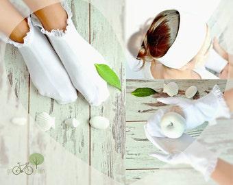 100% Organic cotton SPA set - Cotton socks / mittens / headband - Natural cotton Moisturizing socks / mittens - Cotton SPA headband
