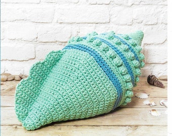 Crochet Sea Shell cushion Pattern only Natura XL Yarn