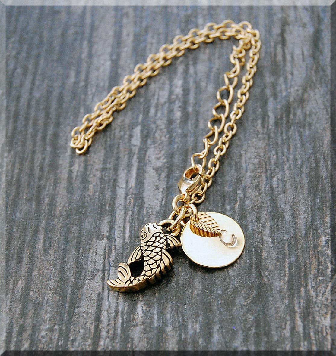 Initial Charm Bracelets: Gold Koi Fish Bracelet Initial Charm Bracelet Personalized