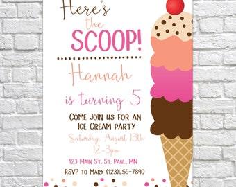Ice cream party invitation, ice cream birthday invitation, ice cream social invitation, ice cream shoppe invitation, kid's birthday