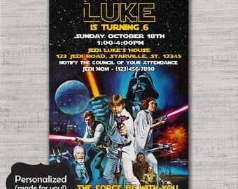 Star Wars invite,Star Wars Birthday invitation,JPG file,Birthday Invite,Star Wars invitation,Star Wars,Darth Vader,Luke Skywalker,DPP44