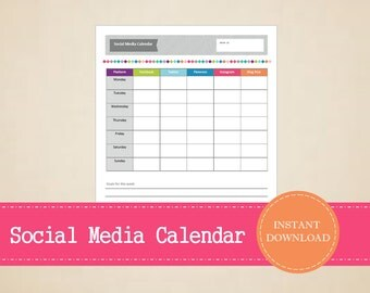 Colorful Weekly Social Media Calendar - Social Media Planner - Printable and Editable - INSTANT PDF DOWNLOAD