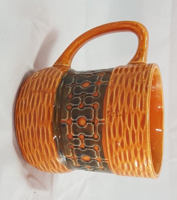 Vintage Mid Century Modern Coffee Mug Ceramic Basket Weave