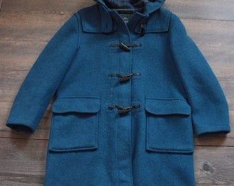 Vintage Gloverall Coat // Blue Wool Duffle Coat with Carved Buttons // Hooded Coat // Original English Duffle Coat