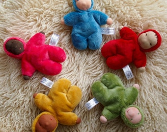 Waldorf cuddle baby doll - red, blue, yellow, green or pink!