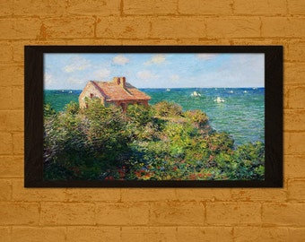 Printed on textured bamboo Art paper - Fisherman's Cottage at Varengeville Claude Monet Print  Retro   Impressionism