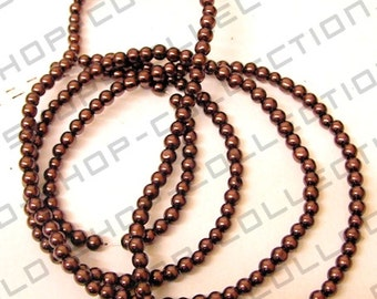Glass Pearl Beads Round Brown Color
