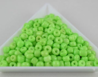Seed Beads Glass Beads Pistachio Green Size 6.0 Sold by 1/4, 1/2, 3/4, 1 LB/ Pound Size 6/0 are 3mm, 4mm Beads