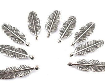 28x9mm Antique Silver Tropical Textured Leaf Pendant , 2mm bail opening, Sold by 1 pack of  18pcs