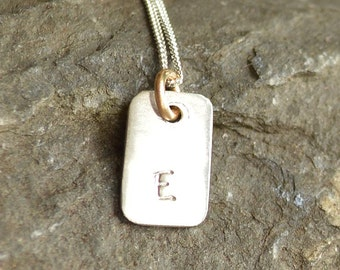 "Tiny Sterling Silver Personalised Pendant With Gold On A 18""  Silver Chain"