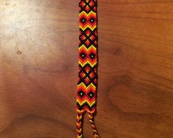 Handmade Woven Fiery Tribal Pattern Friendship Bracelet