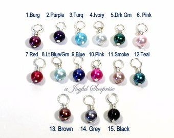 Pearl Birthstone, Pearl Dangle Charm, Add on a birthstone to any listing, birthstone 6mm glass bead