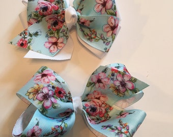 Pastel Floral Hair Bow Spring Hair Bow Pastel Easter Hair Bow Pink and Light Blue Floral Bow with White Grosgrain