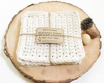 Gift Set of 4 hand crochet washcloths - cotton yarn, crocheted wash cloth