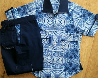 Navy blue  Tribal print Toddler Shirt and Trousers