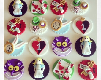 24 x Alice in Wonderland fondant edible Cupcake toppers - Alice, Rabbit, queen of hearts, Cheshire Cat