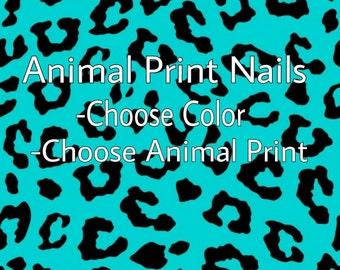 Animal Print Accented Nail Set.