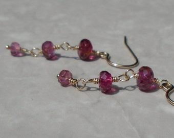 Toumaline Earrings, Pink Tourmaline Earrings, Pink Earrings, Tourmaline Earrings, Dangling Earrings, Gold Filled Earrings, Dainty Earrings