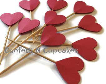Cupcake Toppers, Red Heart Cupcake picks, food picks, red heart die cuts, wedding cupcakes, shower decor, appetizer food picks, red hearts