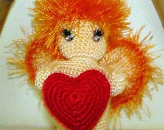 I love you. Cupid with heart - amigurumi
