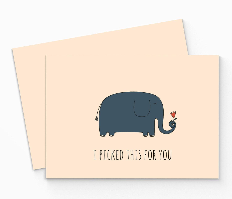 Printable Elephant Valentine Card Funny Valentines Day Card – Elephant Valentine Card