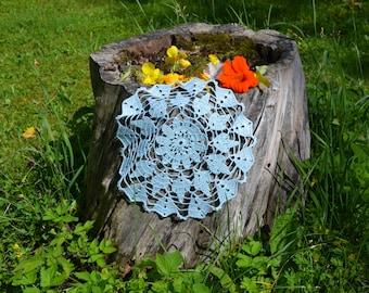 Crochet doily / lace / light blue / 10 inches  (26 cm)