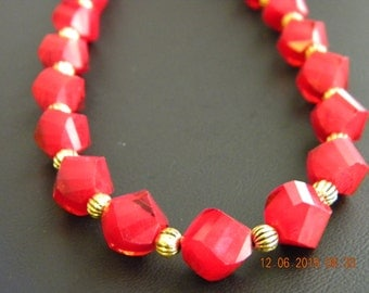 Red Faceted Crystal Helix Beaded OOAK Necklace