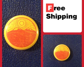 Sunrise over Mountain Wilderness Button Pin, FREE SHIPPING & Coupon Codes