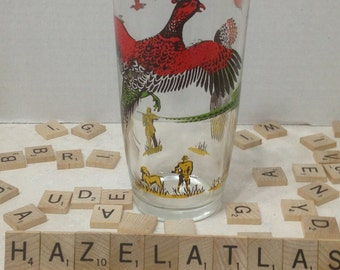 Vintage Hazel Altlas Pheasant Drinking Glass Tumbler