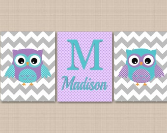 Owl Nursery Wall Art,Owl Wall Art,Lavender Teal Nursery Wall Art,Gray Chevron Nursery Art,Owl Nursery Decor,Owl Baby Gift-UNFRAMED  3 C210
