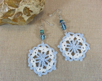 Blue and white cotton crochet earrings earring long flower and blue jewelry beads textile female girl hand-made