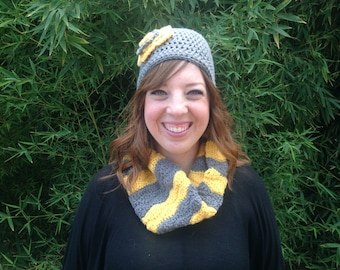 Cowl and Flowered Beanie Set