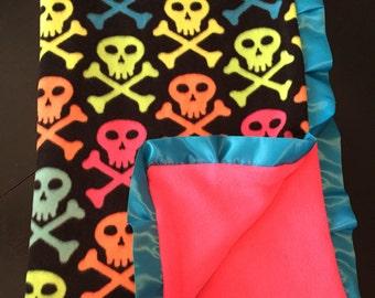 Neon Skull and Crossbones Blanket