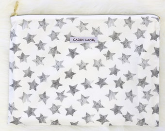 Star Shine Zippered Wet Bag  | Silver, Gray, Star, Watercolor, White Baby Boy Travel Bag