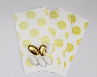 "White kraft paper bags decorated Paper bags Yellow's shades ""Confettata"" Wedding Anniversary Food packaging"