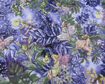 "One Yard Flower Fairies 100% Cotton Fabric, ""Night Fairies"", Michael Miller, Mary Cicely Barker, #DM5043"